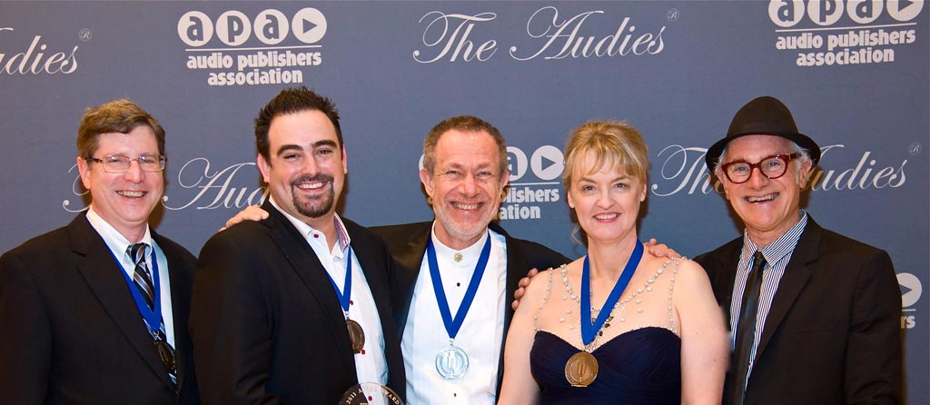 Grover Gardner, Josh Stanton, Stefan Rudnicki, Gabrielle de Cuir and Craig Black of Blackstone Audio as recipients of the 2011 Audie for best Classic Audio book for THE WOMAN IN WHITE (Not pictured. She is shy.)