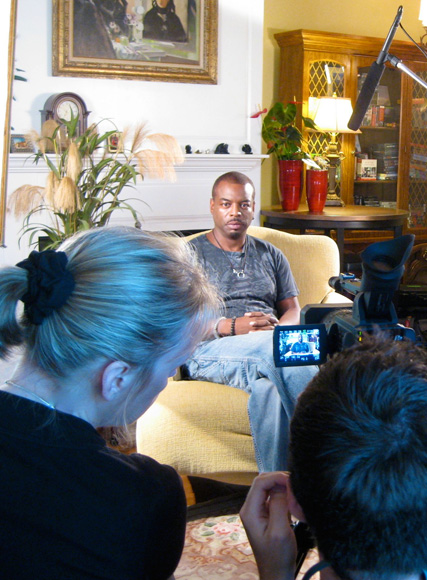 Behind the camera during interview with LeVar Burton